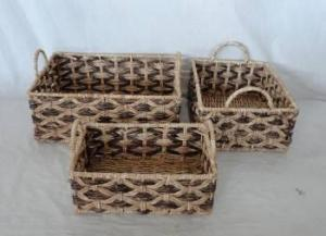 Home Storage Hot Sell Stained Maize Woven Over Metal Light Color Frame Baskets S/3