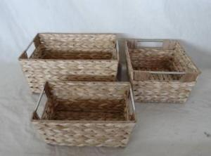 Home Storage Hot Sell Natural Cattail Woven Over Metal Frame Baskets With Stainless Tube Handles S/3