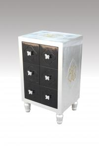 Home Furniture Classical 6 Drawer Cabinet With Butterfly Handle Silver Foil PU Black Lacquer MDF And Birch Solid