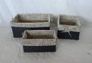 Home Storage Hot Sell Flat Paper Woven Over Metal Frame Baskets With Liner S/3