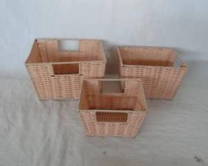 Home Storage Hot Sell Pp Tube Woven Over Metal Frame Light Color Baskets S/3