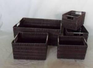 Home Storage Willow Basket Pp Tube Woven Over Metal Frame Baskets With Stainless Handle S/5