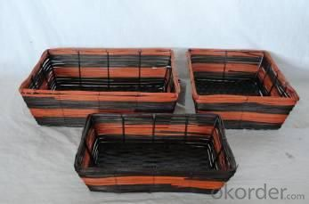 Home Storage Hot Sell Stained Rattan Woven Over Metal Frame Baskets S/3