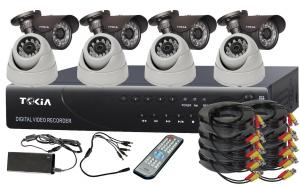 8CH Home Security System DVR KITS with 4pcs Bullet   IR Dome Cameras S-15