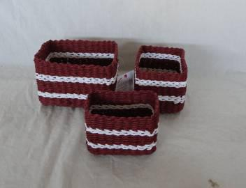 Home Storage Hot Sell Soft Woven  Paper Rope Brown And White Box S/3