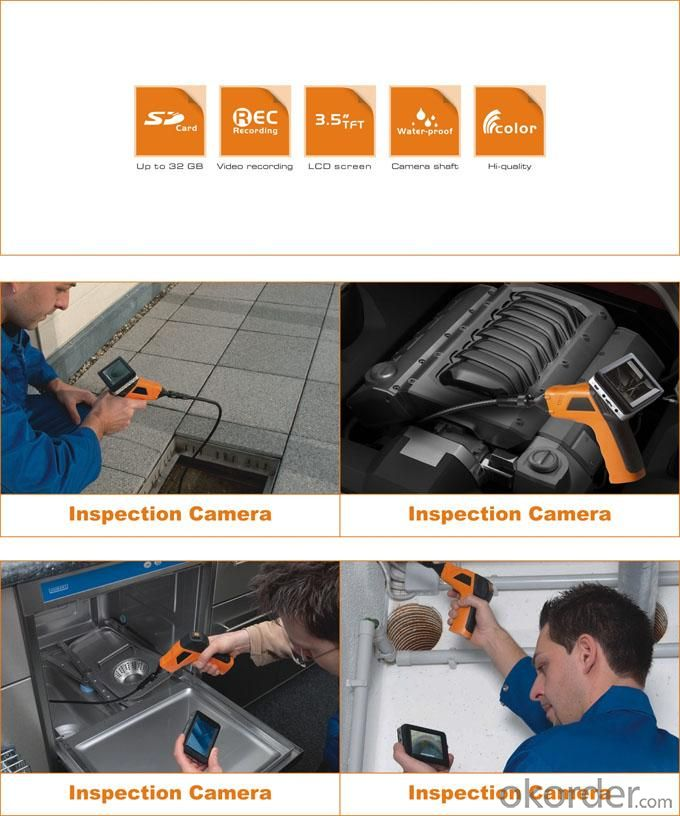 Wireless Recordable Inspection Camera With 3.5Inch Color LCD Monitor IP67 Waterproof 8803AL