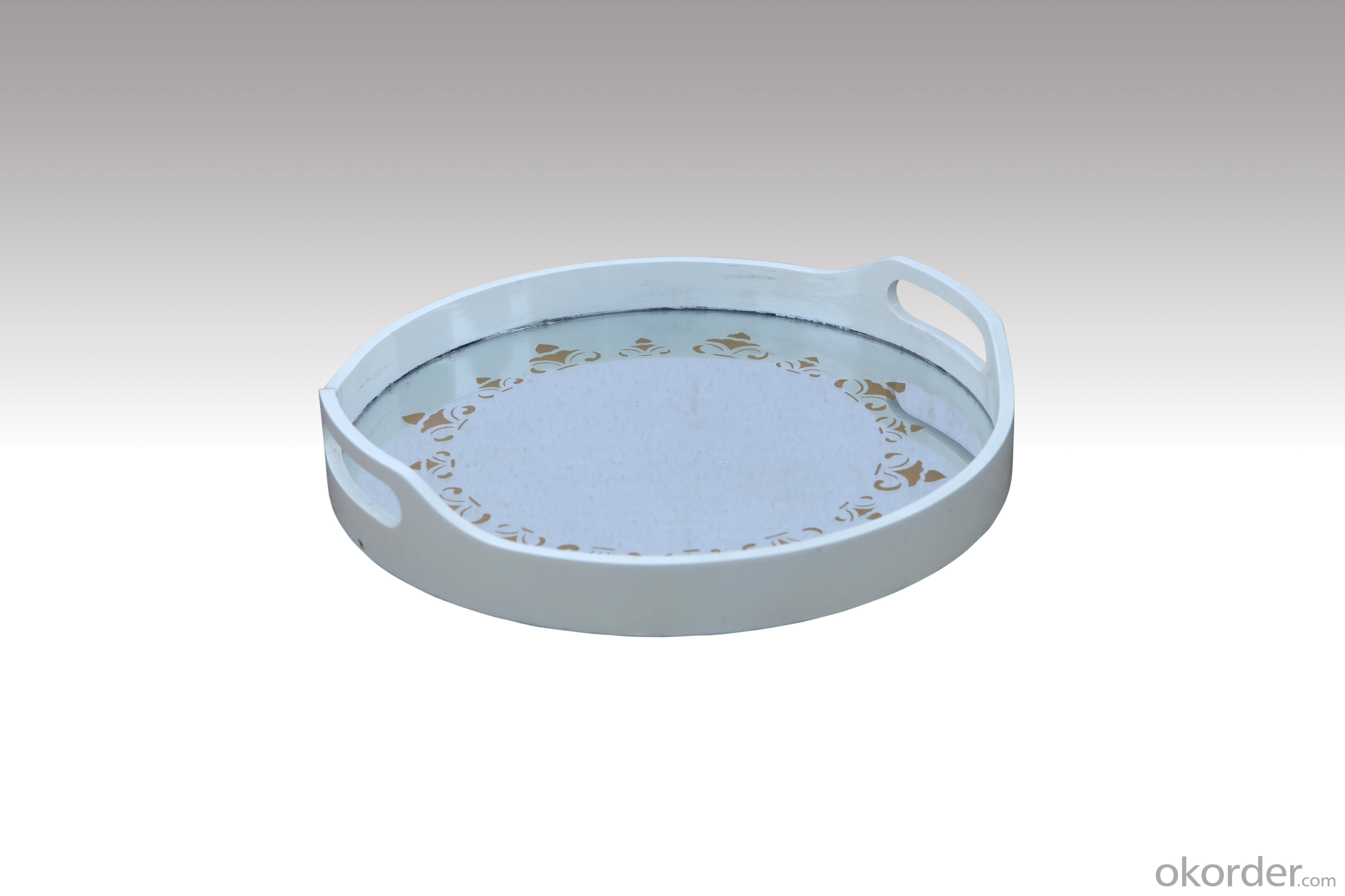 Home Furniture Classical Round Tray PU High Gloss MDF And Birch Solid