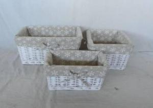 Home Storage Willow Basket White-Painted Willow Baskets With Liner S/3