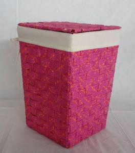 Home Storage Laundry Basket Flat Paper Braid Woven Around Metal Frame Basket With Liner