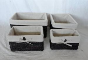 Home Storage Hot Sell Stained Maize Woven Over Metal Frame Baskets With Liner S/4