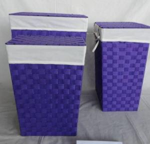 Home Storage Laundry Basket Nylon Strap Woven Around Metal Frame Laundry Hampers With Liner S/3