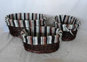 Home Storage Willow Basket Mixed Willow And Woodchip Baskets With Liner S/3