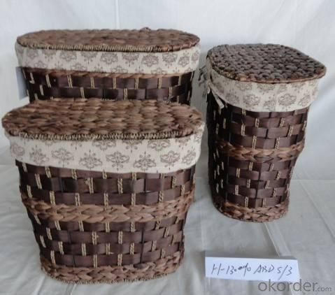 Home Storage Laundry Basket Stained Woodchip And Waterhyacinth Laundry Baskets With Liner S/3
