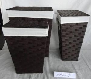 Home Storage Laundry Basket Flat Paper Woven Around Metal Frame Laundry Baskets With Liner S/3