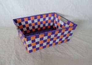 Home Storage Willow Basket Nylon Strap Woven Over Metal Three Colors Cross Frame Basket