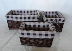 Home Storage Willow Basket Mixed Willow And Woodchip Dark Color Baskets With Liner S/3