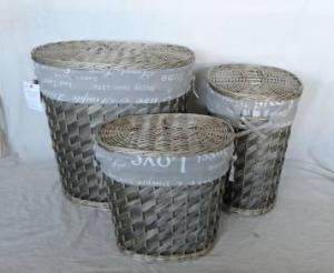Home Storage Hot Sell Washed-Grey Woodchip Laundry Baskets With Liner S/3
