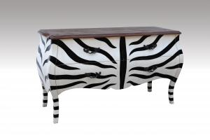 Home Furniture Classical 4 Drawer Rectangular Chest Zebra NC Solid Wood