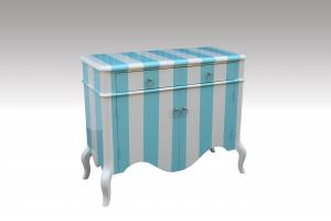 Home Furniture Classical Blue And White PU High Gloss Drawer Chest