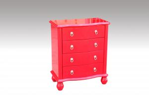 Home Furniture Classical Red PU High Gloss Four Drawer Chest MDF And Birch Solid