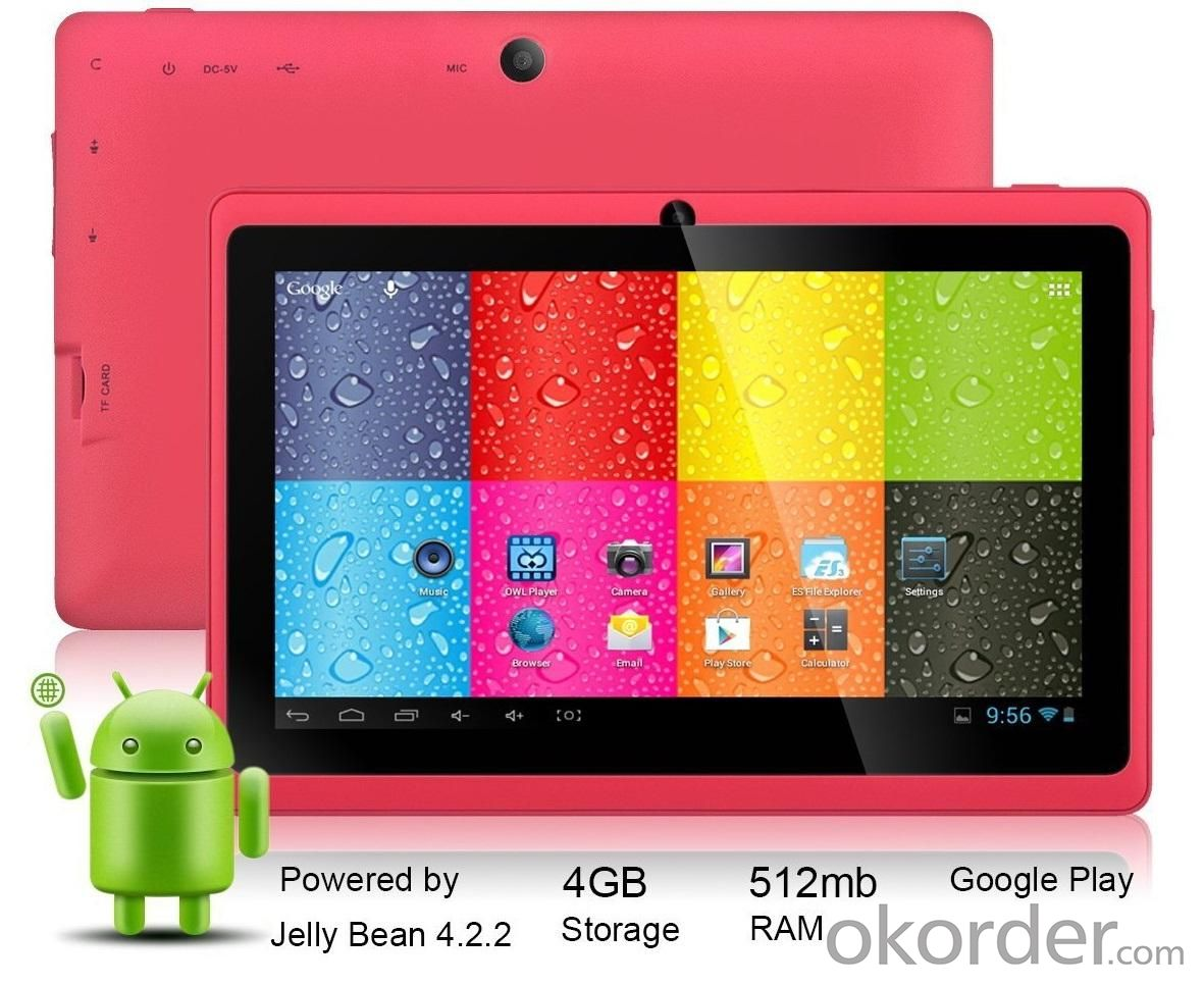 Android 4.2 7 Inch Capacitive Touch Screen Tablet PC With Dual Core ATM7021 1.3GHz 4GB WiFi Dual Camera Pink