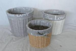 Home Storage Willow Basket Paper Twisted Woven Over Metal Frame Three Color Baskets With Liner S/3