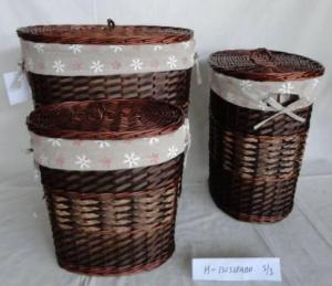 Home Storage Laundry Basket Stained Willow And Woodchip Laundry Baskets With Liner S/3