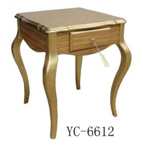 Home Furniture Classical Table With Drawer Gold PU High Gloss  MDF And Birch Solid