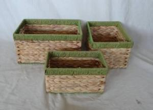 Home Storage Willow Basket Natural Waterhyacinth And Paper Twisted Rimed Woven Over Metal Frame Green Frame Baskets S/3