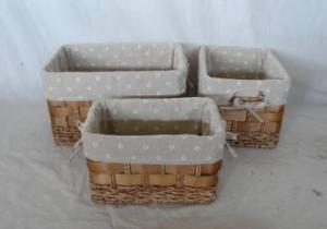 Home Storage Willow Basket Stained Maize And Woodchip Woven Over Metal Frame Baskets With Liner S/3