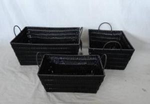 Home Storage Hot Sell Pp Tube Woven Over Metal Frame Black Baskets S/3