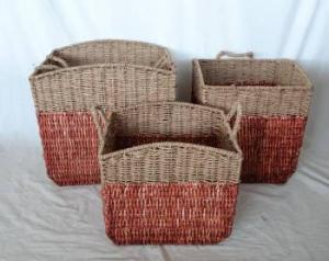Home Storage Willow Basket Stained Maize And Seagrass Woven Over Metal Frame Baskets S/3