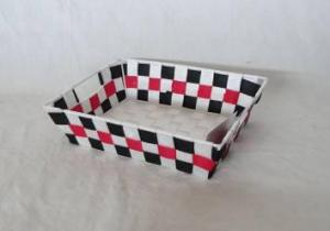 Home Storage Willow Basket Nylon Strap Woven Over Metal Frame Black/White/Red Basket