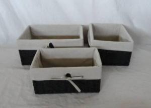 Home Storage Hot Sell Twisted Paper Rope Woven Over Metal Frame Baskets With Liner  S/3