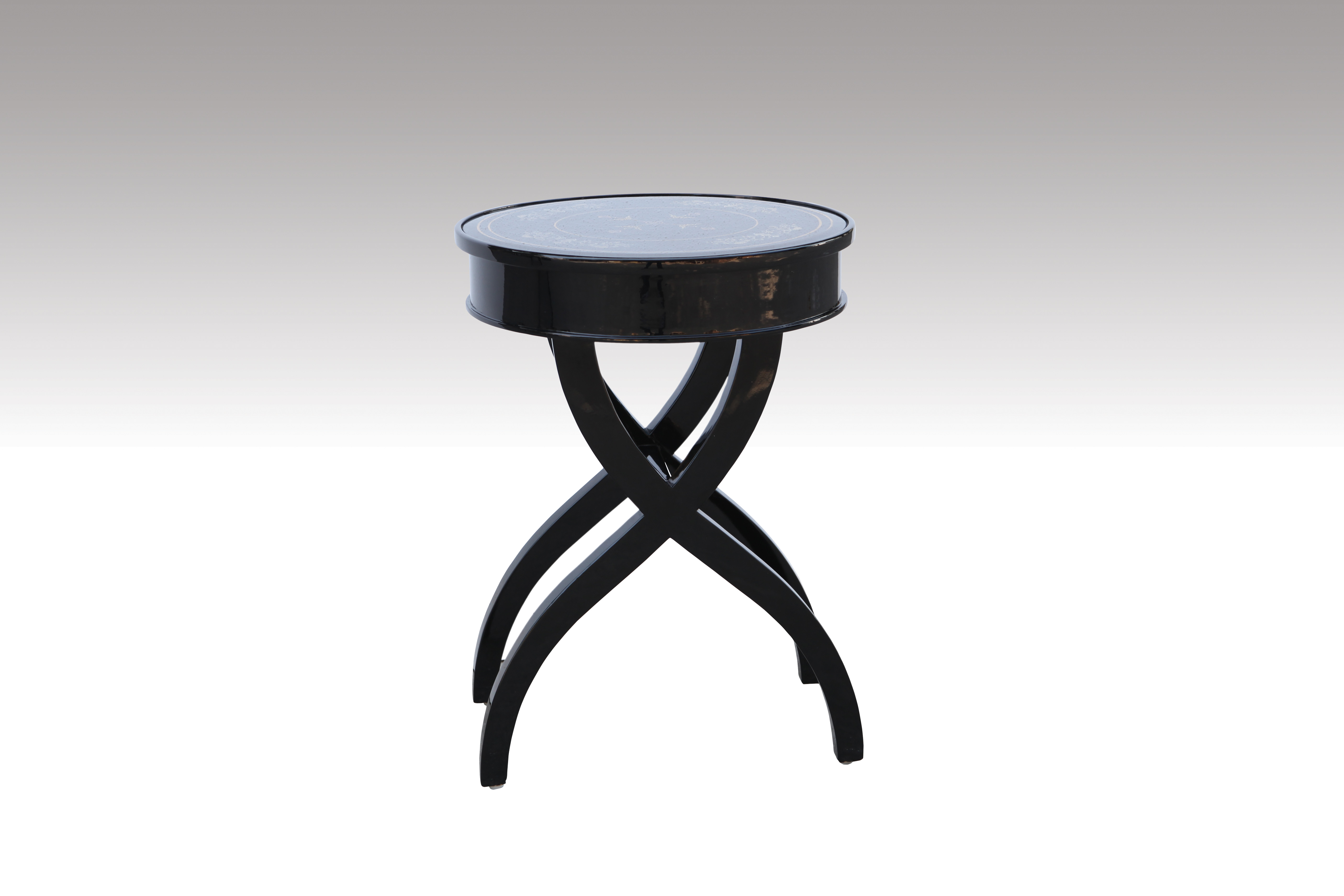 Home Furniture Classical Black Table PU High Gloss MDF And Birch Solid