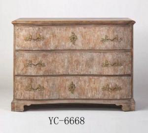 Home Furniture Classical 3 Drawer Chest Beige Antique Pine Solid Wood