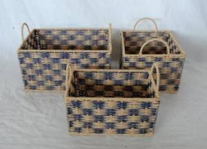 Home Storage Hot Sell Twsited Paper Woven Over Metal Frame Baskets S/3