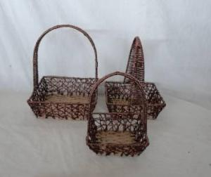 Home Storage Hot Sell Twisted Paper Woven Over Metal Frame Hollow Baskets With Handle S/3