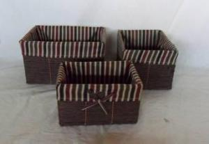 Home Storage Willow Basket Paper Twisted Woven Over Metal Frame Baskets With Liner S/3