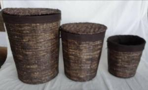 Home Storage Laundry Basket Stained Maize Woven Around Metal Frame With Liner S/3