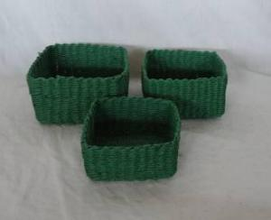 Home Storage Hot Sell Soft Woven  Paper Rope Dark Green Box S/3