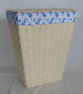 Home Storage Laundry Basket Flat Paper Braid Woven Metal Frame Brown Laundry Hamper With Liner