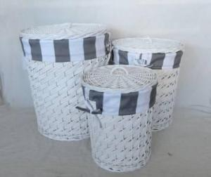 Home Storage Hot Sell White-Painted Woodchip Laundry Baskets With Stripe Liner S/3