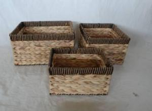 Home Storage Willow Basket Natural Waterhyacinth And Paper Twisted Rimed Woven Over Metal Frame Baskets S/3