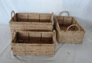 Home Storage Hot Sell Stained Maize Woven Over Metal Frame Baskets With Handles S/3