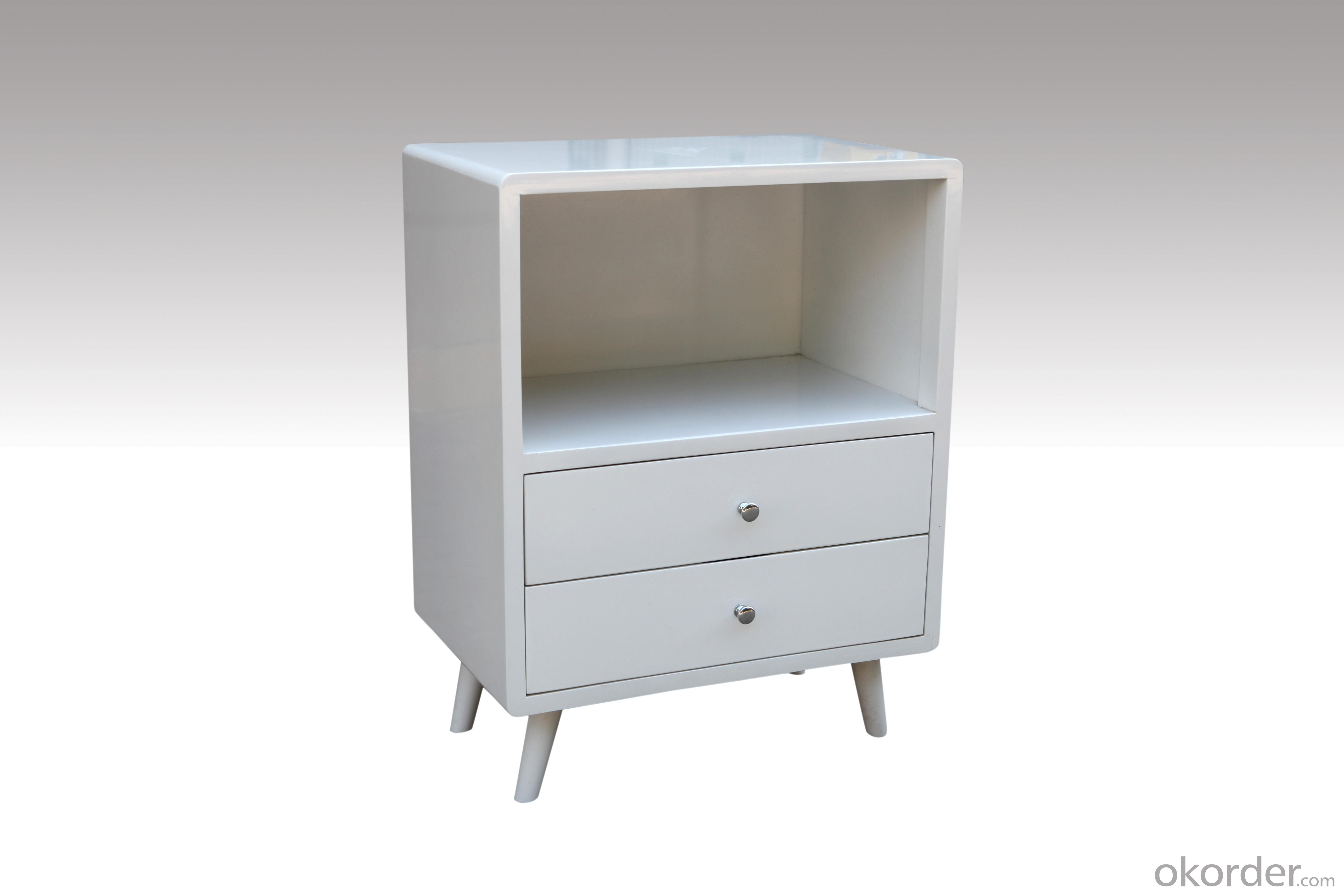 Home Furniture Classical Cabinet with 2 Drawers White PU High Gloss MDF And Birch Solid