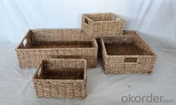 Home Storage Hot Sell Stained Maize Woven Over Metal Frame Baskets S/4