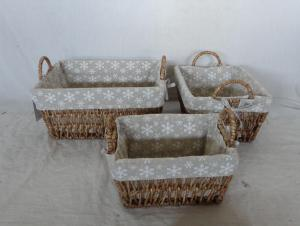 Home Storage Willow Basket Stained Maize Woven Over Metal Frame Baskets With Liner S/3