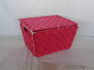 Home Storage Willow Basket Foldable Nylon Woven Metal Tube Red Basket