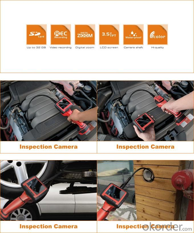 High-Level Wireless Inspection Camera With 3.5Inch Color LCD Monitor IP67 Waterproof 8843AU